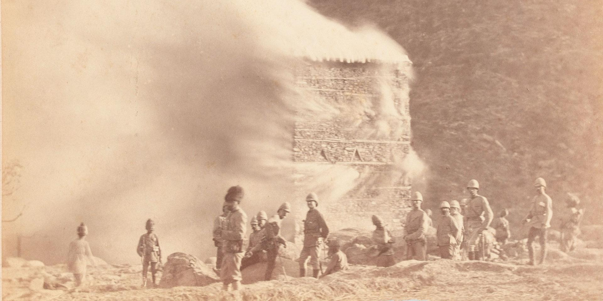 Burning a settlement, Black Mountain Expedition, 1888