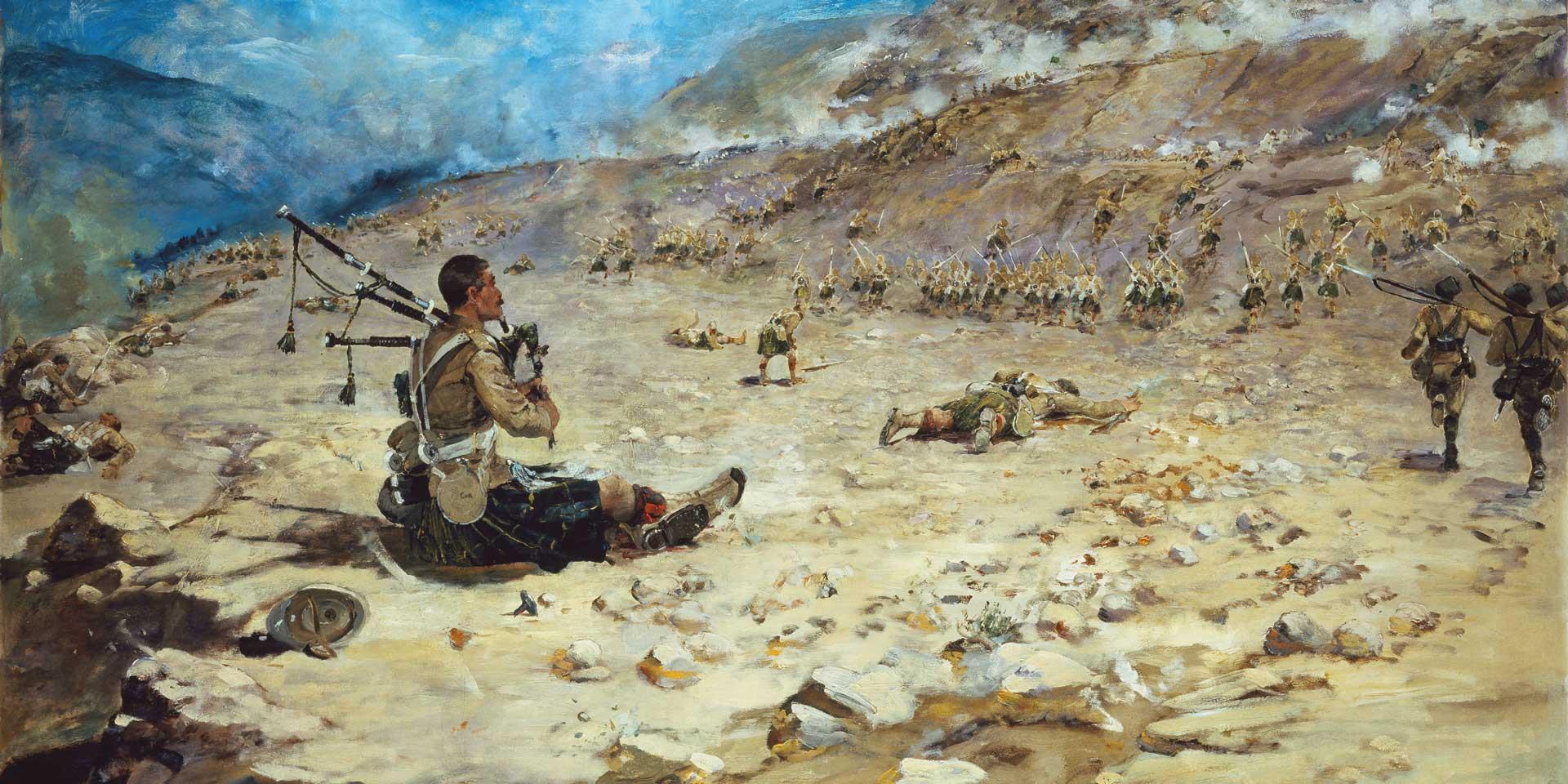 Piper George Findlater, The Gordon Highlanders, winning the Victoria Cross at Dargai, 1897