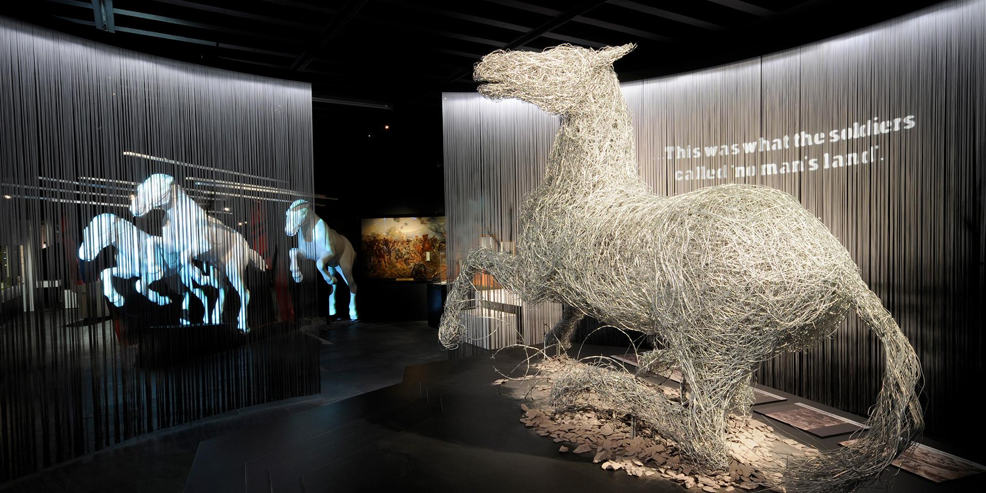Wire horse sculpture, War Horse, 2011