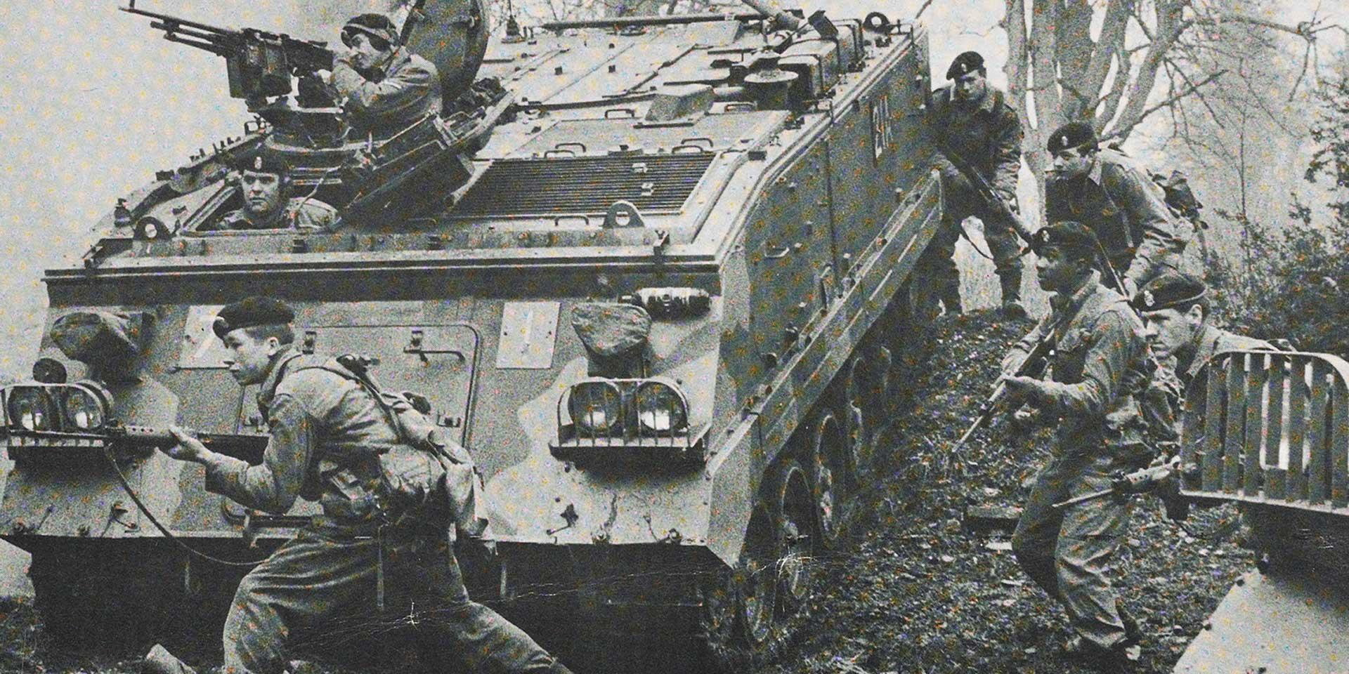 Troops of the Queen's Division of Infantry on exercise, c1970