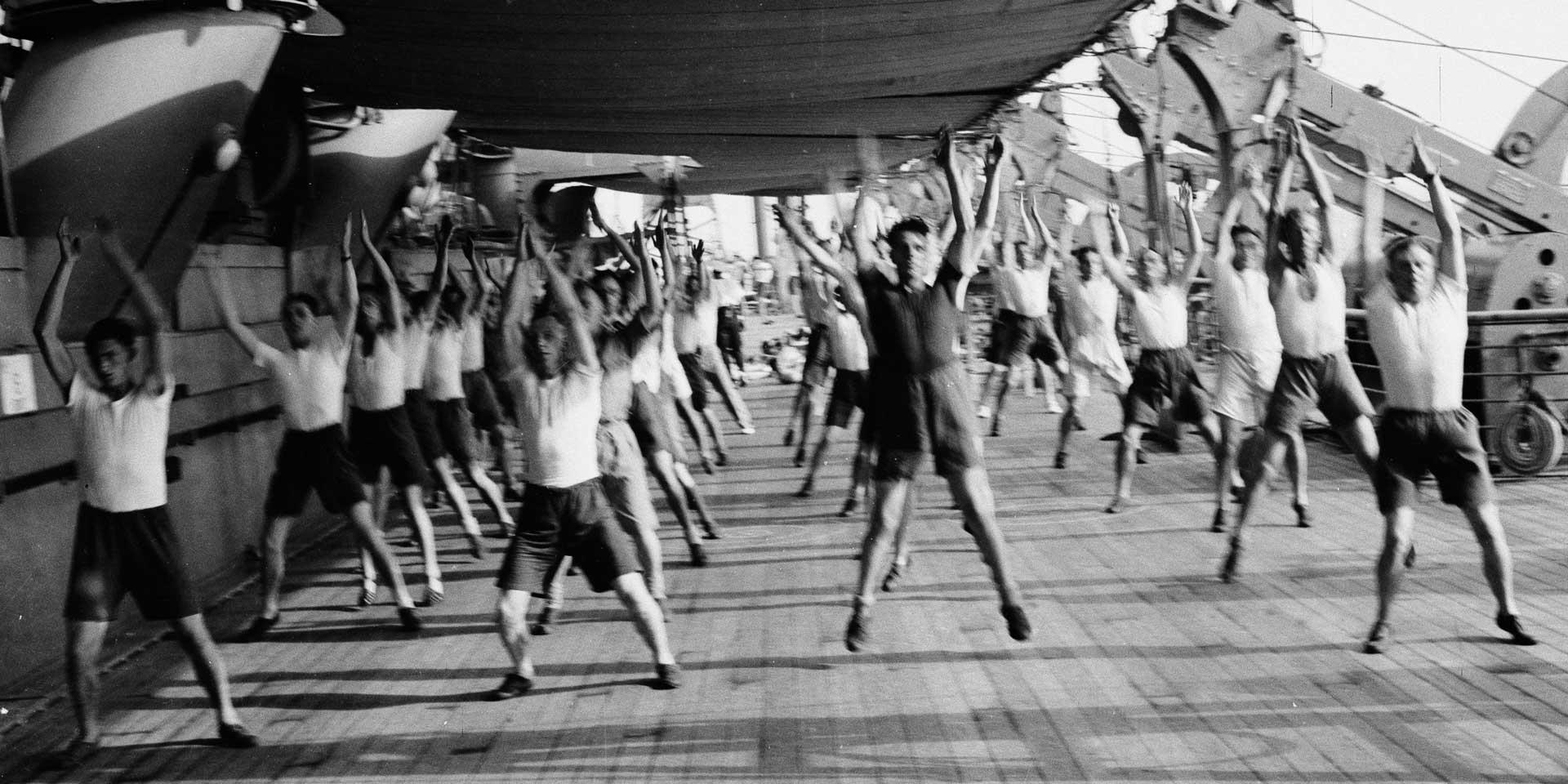 3rd County of London Yeomanry (Sharpshooters) keeping fit on board HMT 'Orion' en route to Egypt, 1941