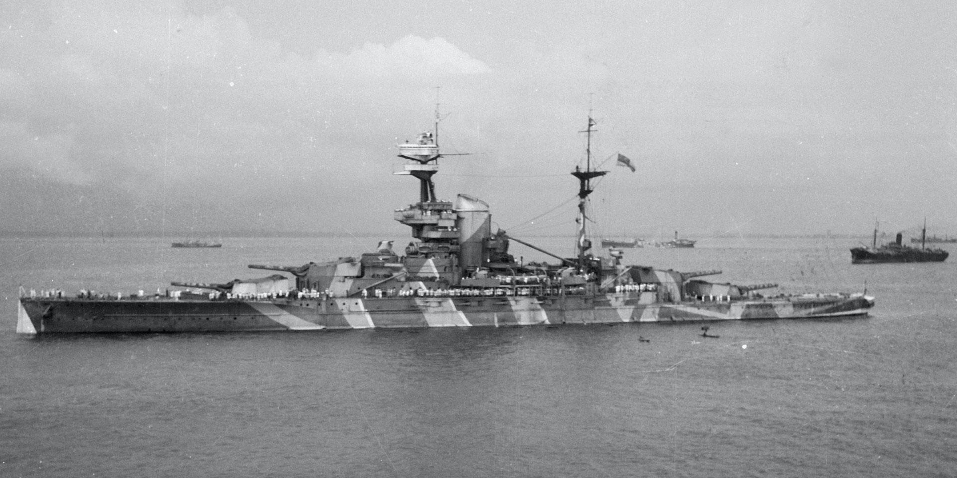 HMS 'Revenge', from HMT 'Orion', en route to Egypt, 1941