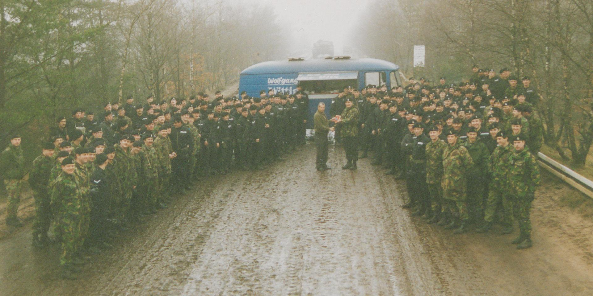 1st Royal Tank Regiment say goodbye to Wolfgang Meier, the famous food van operator at the Soltau-Lüneburg training area, 1993