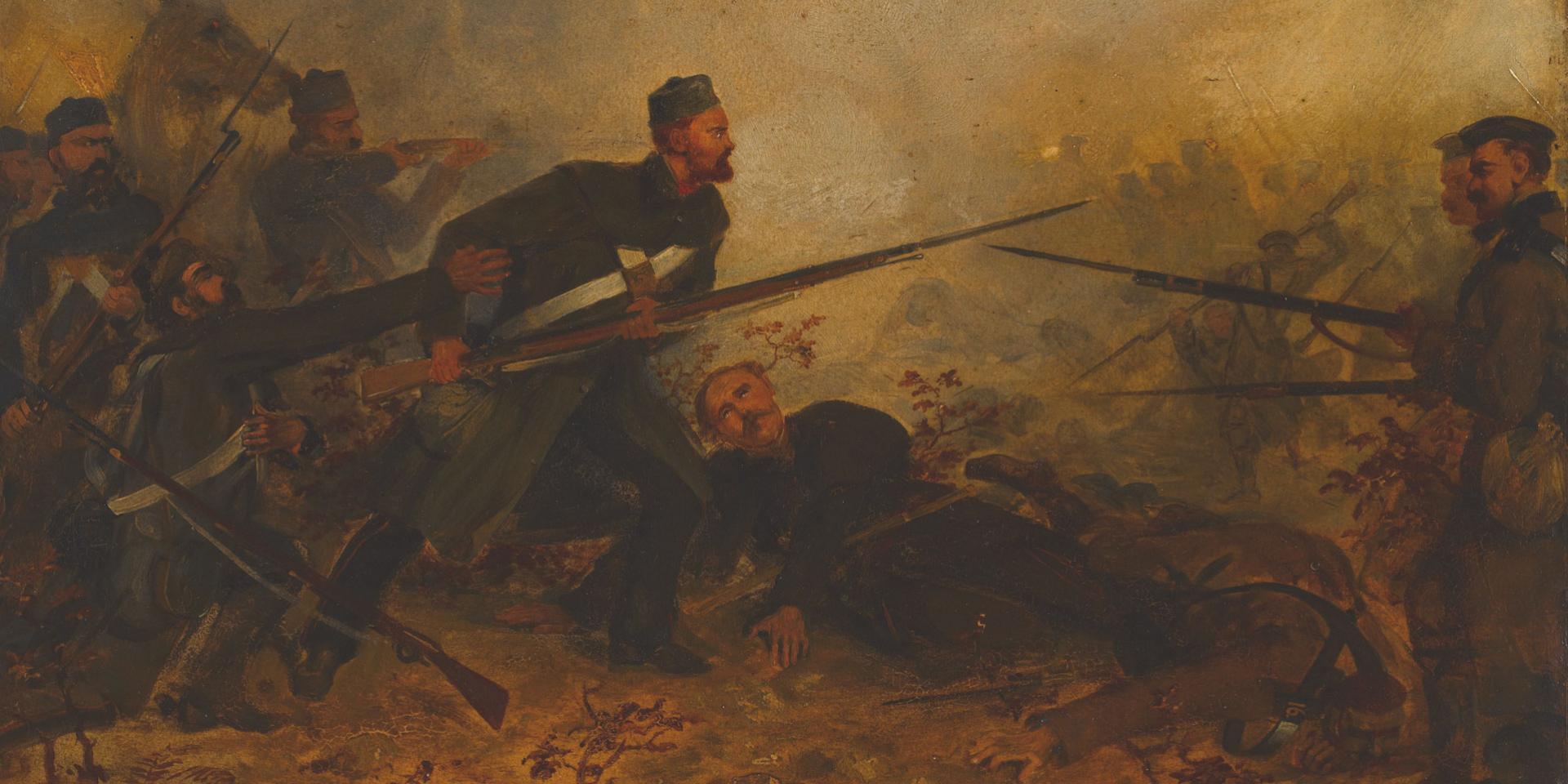 Private John McDermond, 47th (The Lancashire) Regiment of Foot, winning the VC by saving Colonel Haly at Inkerman, on 5 November 1854