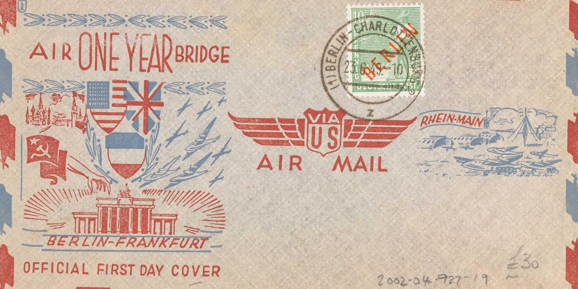 US Air Mail envelope marking the first anniversary of the Berlin blockade and airlift, 23 June 1949