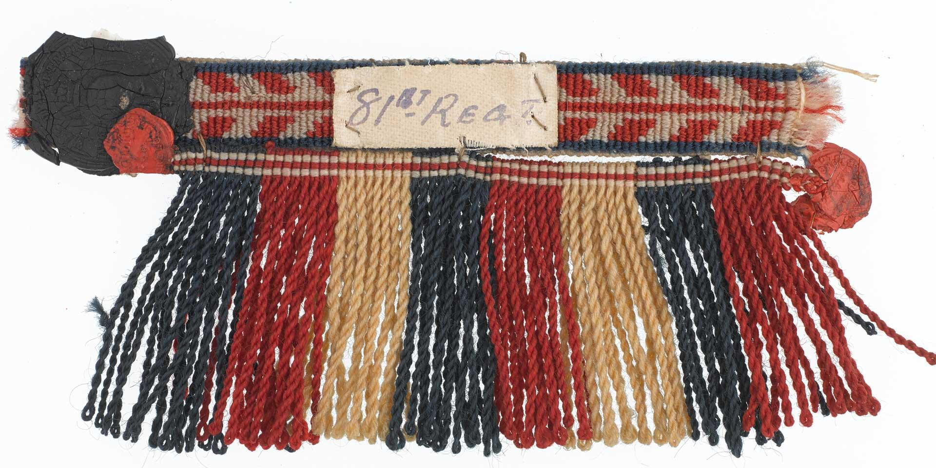 Lace and fringe sample, drummer, 81st (Loyal Lincoln Volunteers) Regiment of Foot, sealed pattern, 1860