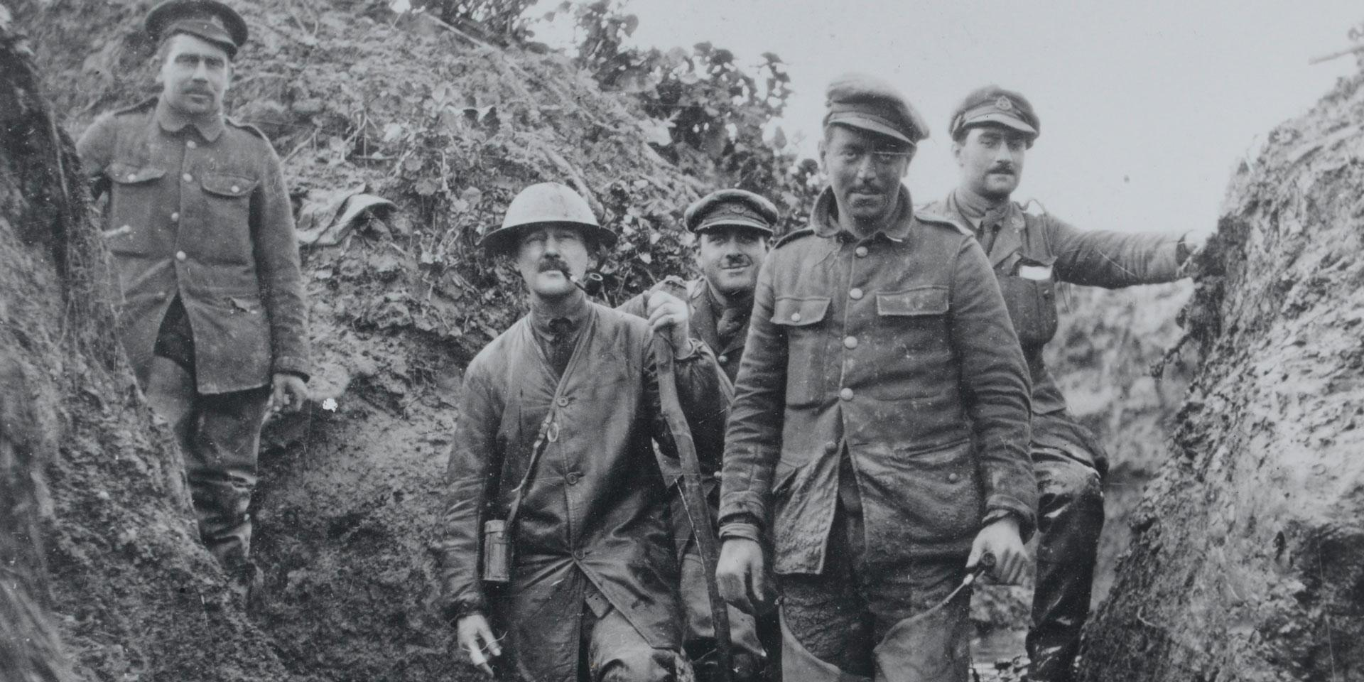 Members of 8th Battalion The East Lancashire Regiment in the front line at Foncquevilliers, 1915