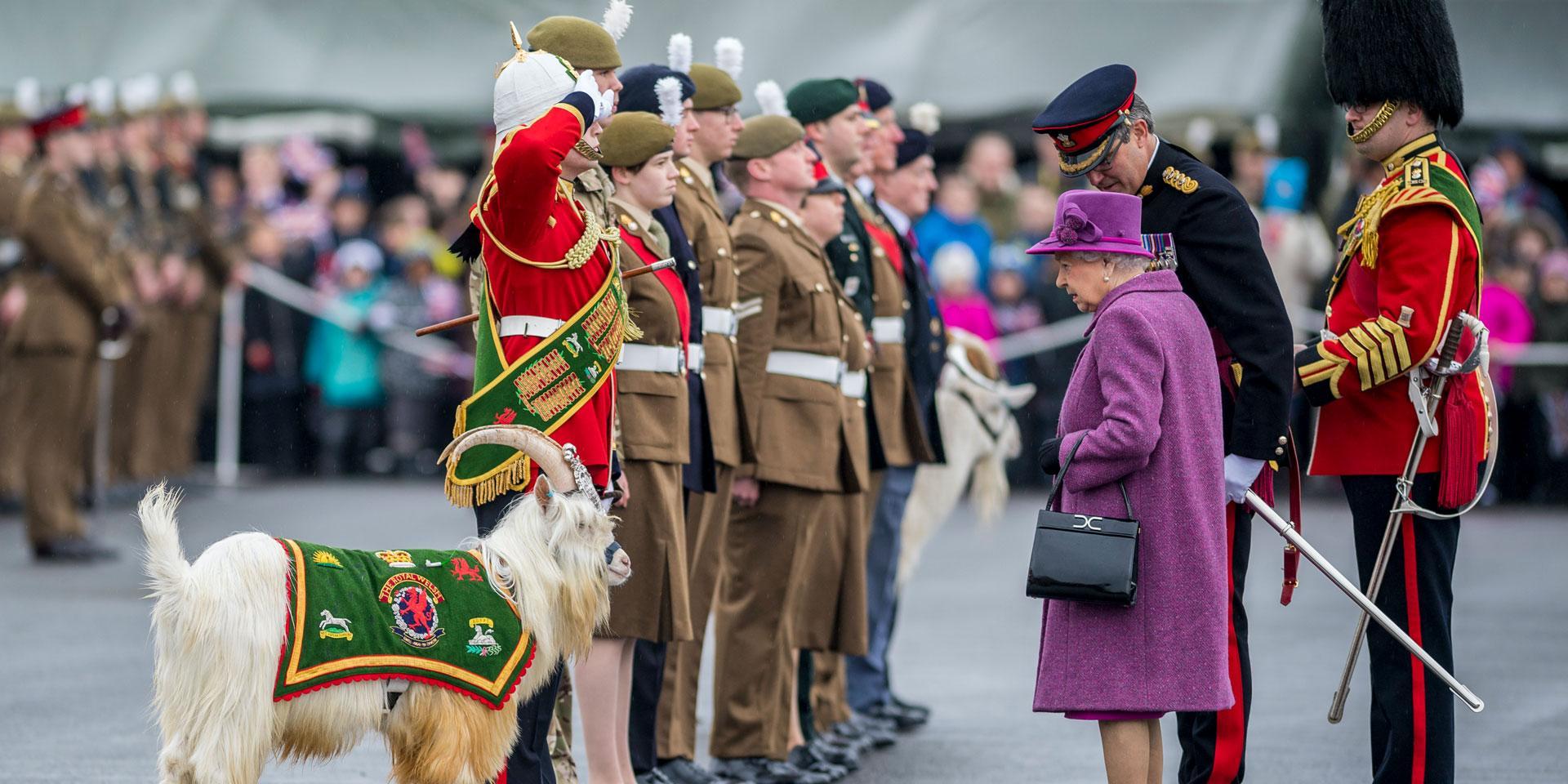 Queen Elizabeth II inspects Fusilier 'Llywelyn' of 1st Battalion The Royal Welsh Regiment, 2017