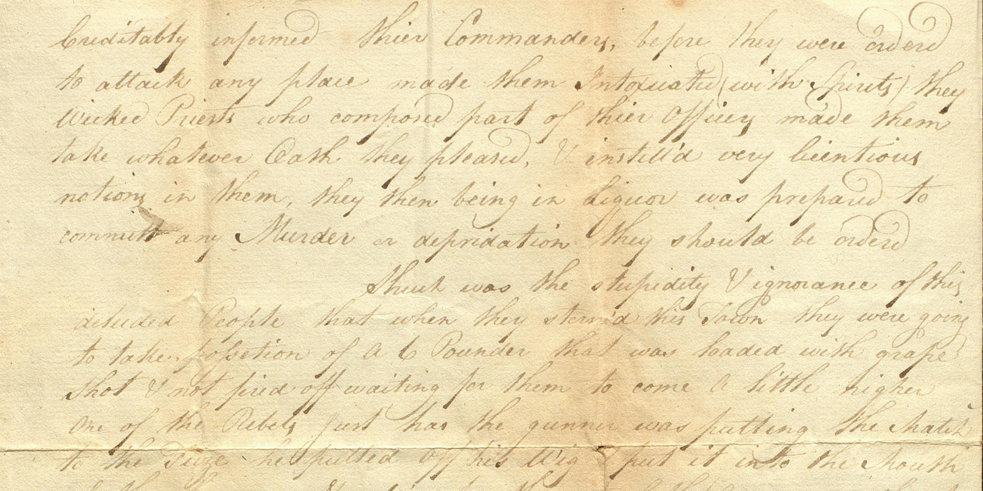 Letter from Corporal Samuel Blomeley, Coldstream Guards, conveying his impressions of the Irish Rebellion, 2 July 1798