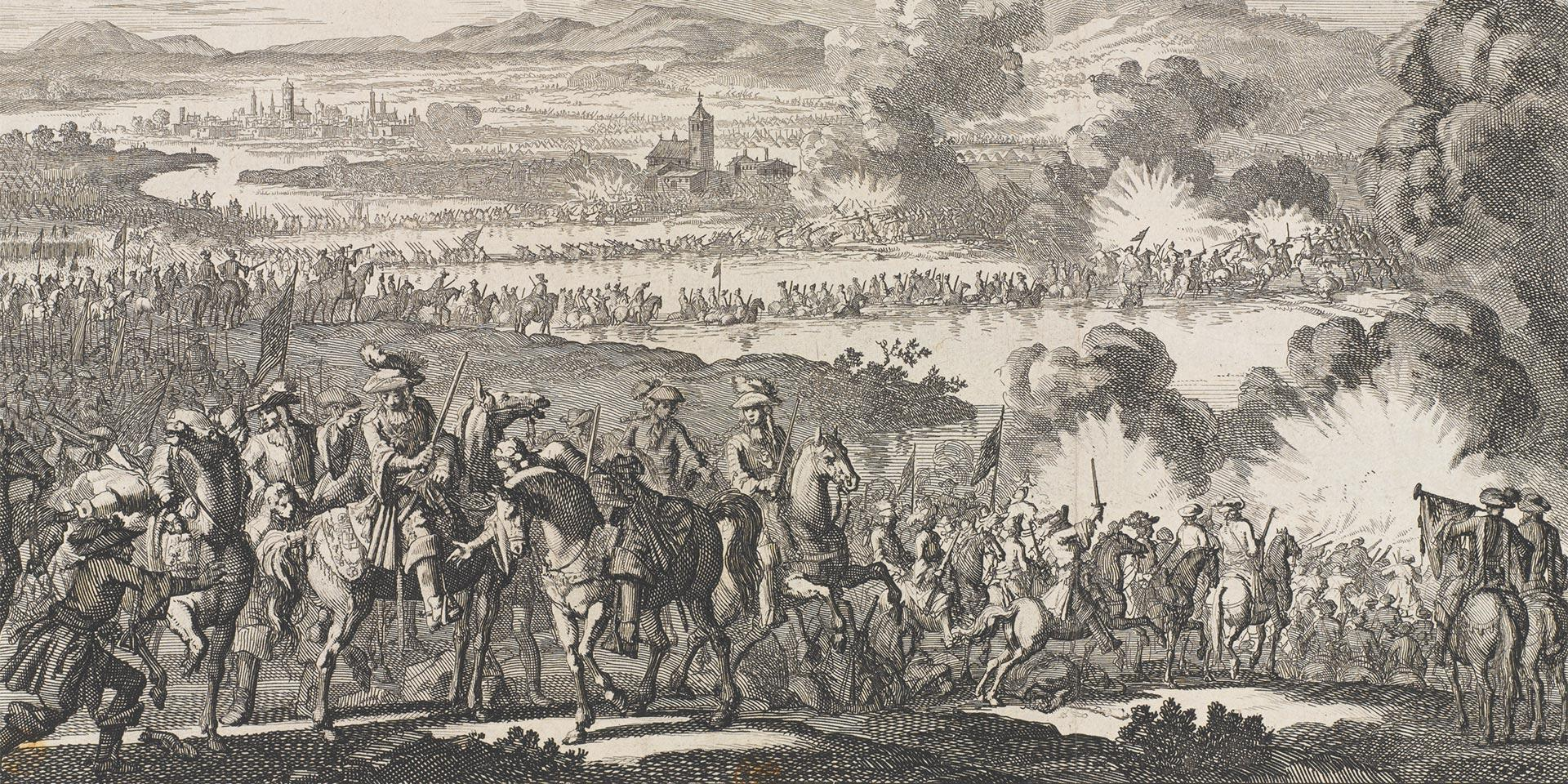 'Passage de Boyne' etching depicting the wounding of King William by a cannon ball