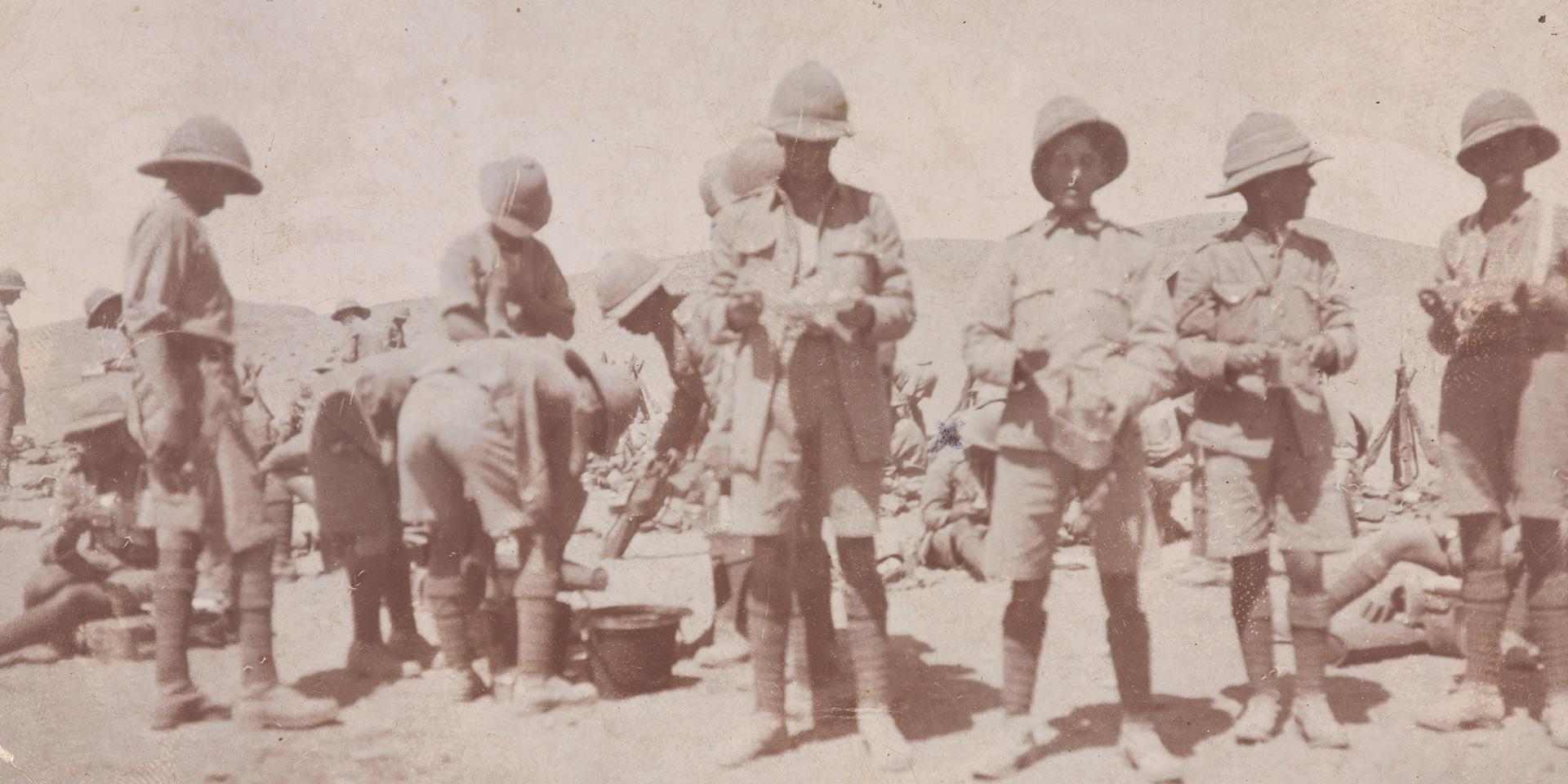 Members of 2nd Battalion The Devonshire Regiment on a meal break during service on the North West Frontier, India, c1919