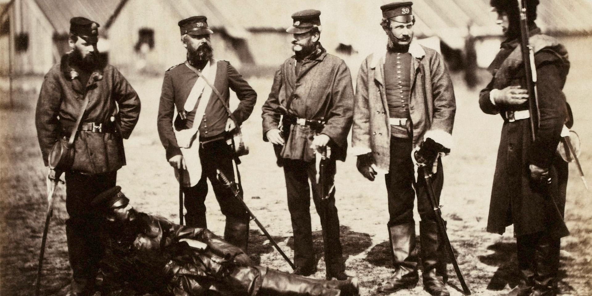 Lieutenant-Colonel Munro and officers of the 39th (Dorsetshire) Regiment, Crimea, 1855