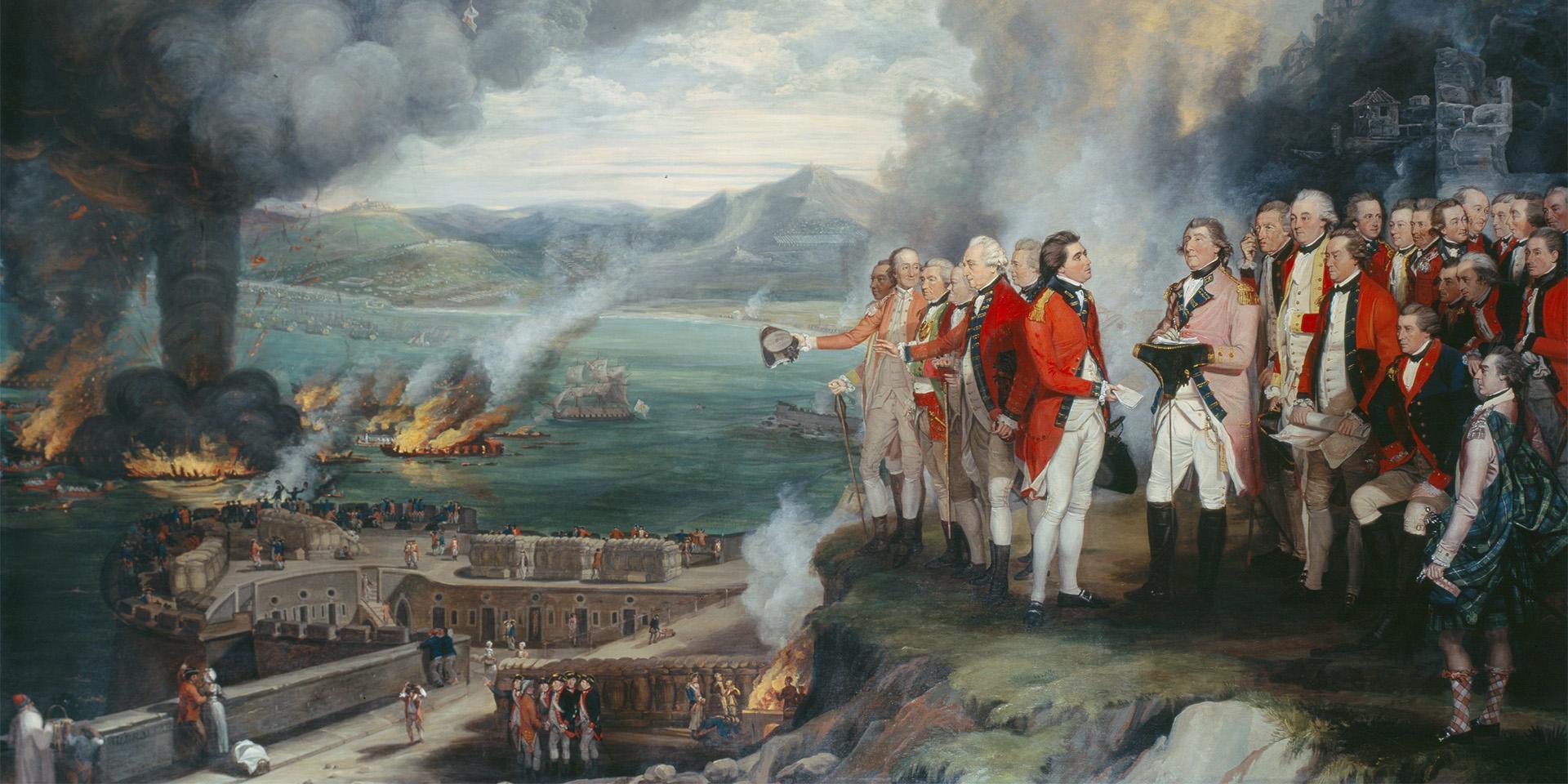 General Eliott and his officers observing the destruction of the Floating Batteries, Gibraltar, 14 September 1782