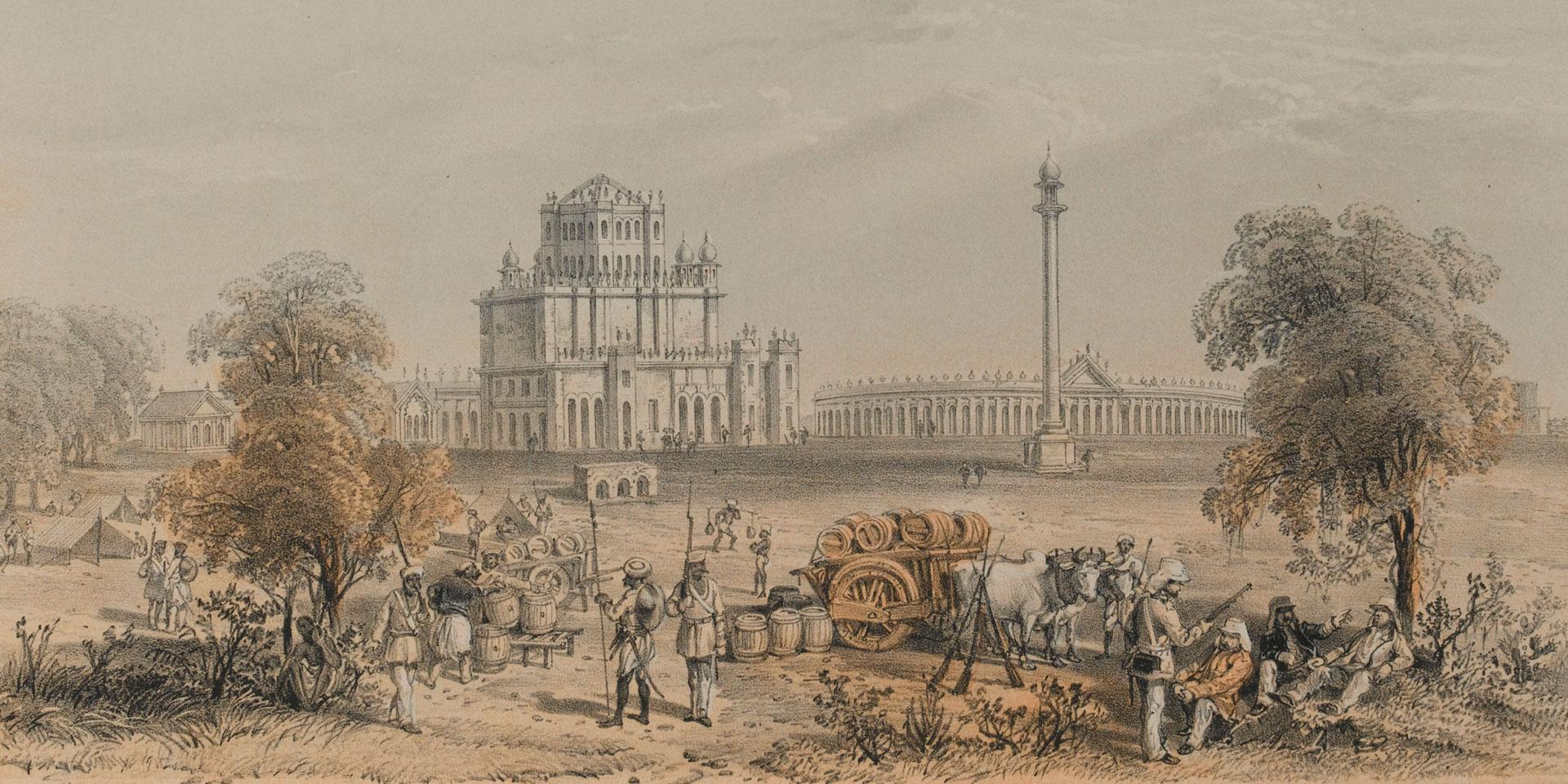 British soldiers at the Dil Khoosha Palace outside Lucknow, 1858