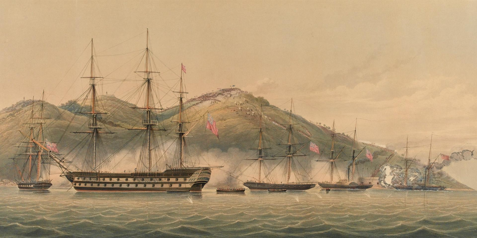 'View of the successful attack of HM Combined Forces...upon the heights of Chusan, October 1st 1841'