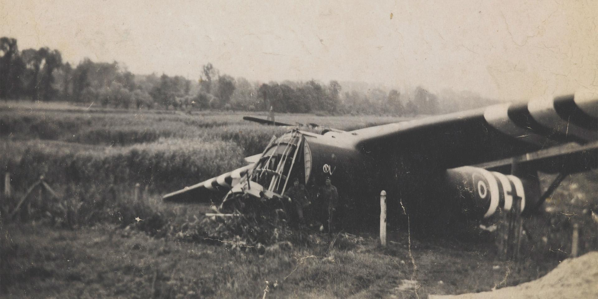One of the gliders used in the capture of Pegasus Bridgeon D-Day, 1944