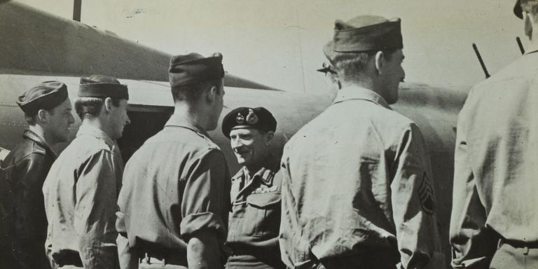 Montgomery with his American bomber crew in 1943