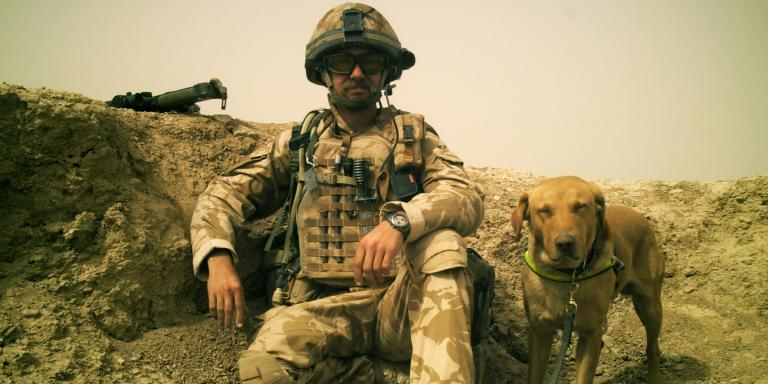 Corporal Robin Ardis and Diesel the search dog in Afghanistan, 2007