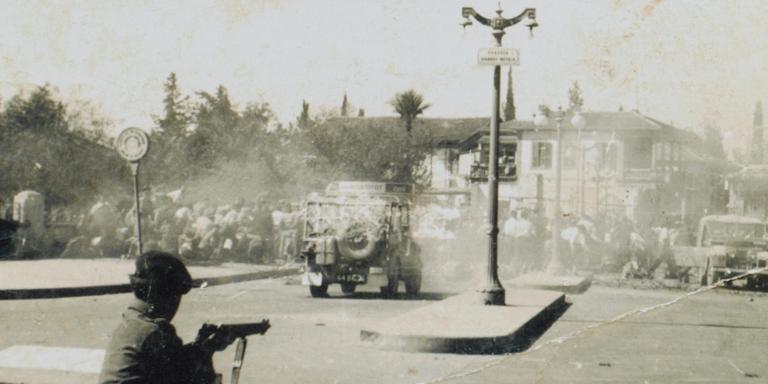 Troops engage rioters in Nicosia, Cyprus, 1956