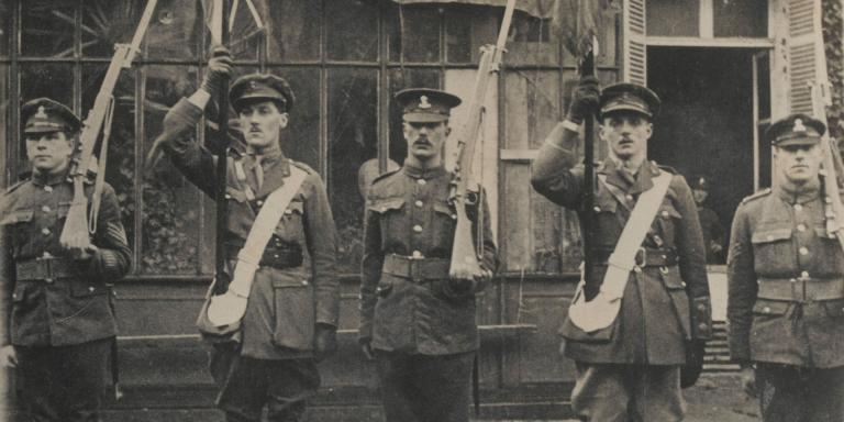 Colour party, 2nd Bn, Royal Dublin Fusiliers, 1918