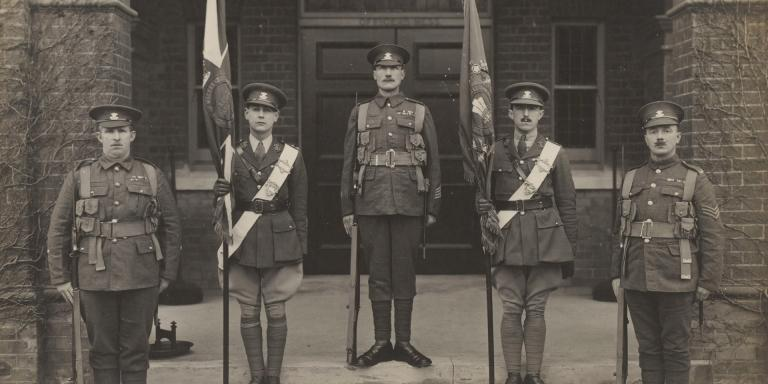 Colour party and escort, Prince of Wales's Leinster Regiment (Royal Canadians), 1921