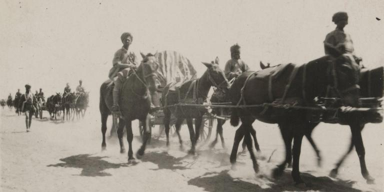 Indian transport crossing the desert in Palestine, 1917
