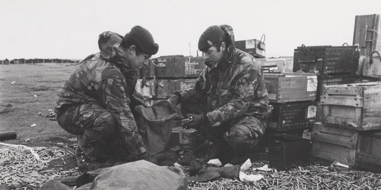 Royal Army Ordnance Corps personnel sorting out small arms ammunition, Falkland Islands, 1982