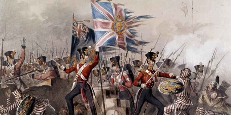 The 18th (Royal Irish) Regiment of Foot storming the Chinese fortress at Amoy, 26 August 1841