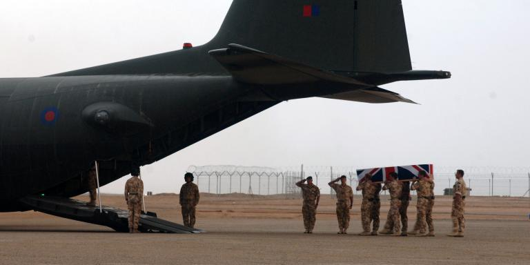 Repatriation service for Lt John Thornton and Marine Dave Marsh, Camp Bastion, Afghanistan, 3 April 2008