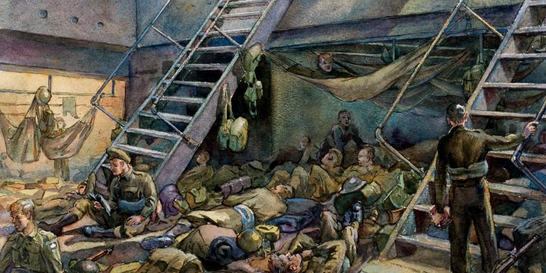 This watercolour by Fred Darking shows conditions aboard a troop ship en-route to Normandy.