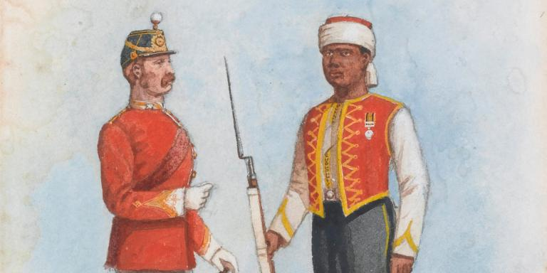An officer and soldier, dressed in  Zouave uniform, of the 1st West India Regiment.
