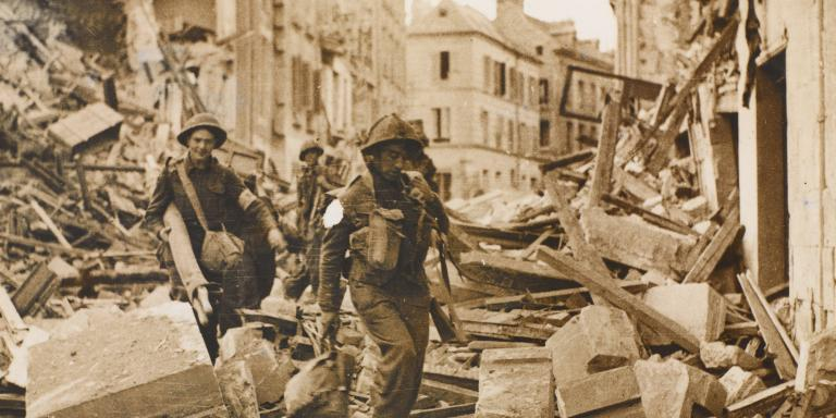 British troops entering the ruins of Caen, 1944
