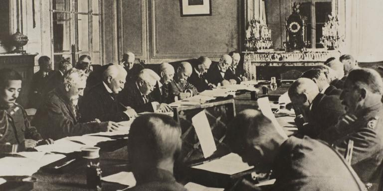 Allies discussing the terms of the at Versailles, 1919