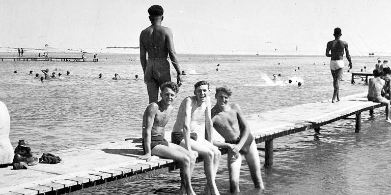 Swimming at Lake Timsah during National Service in Egypt, c1953
