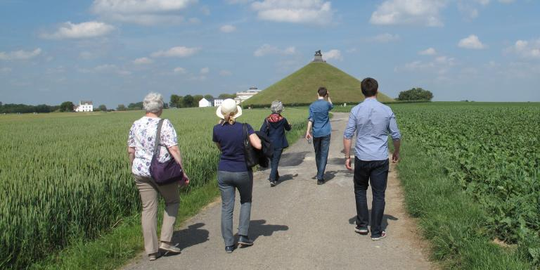 Patrons on a walking tour of the Waterloo battlefield
