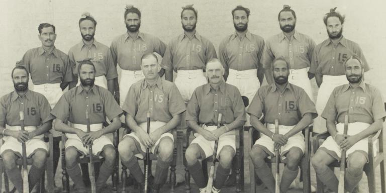 Indian and British hockey players of the 2nd Royal Battalion (Ludhiana Sikhs), 11th Sikh Regiment, 1935