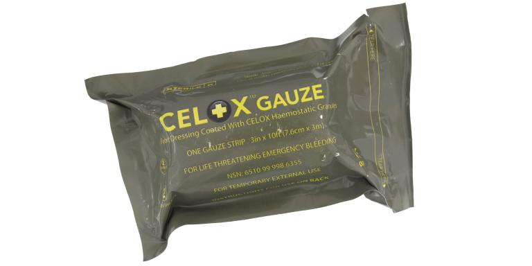 'Celox' brand haemostatic dressing used by Lance Corporal Chris Schivas in Afghanistan, 2007-2010