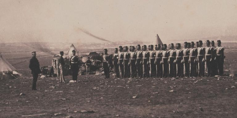 Lieutenant-General Sir John Campbell and the remains of the Light Company of the 38th Regiment in the Crimea in 1855