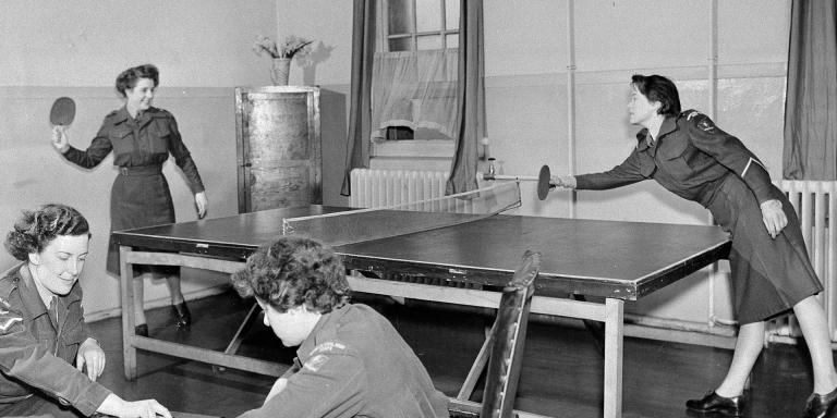 Members of the Women's Royal Army Corps playing table tennis, 1950