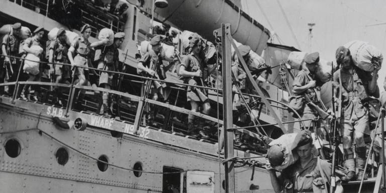Battalion, The Royal Inniskilling Fusiliers, disembark at Singapore at the start of the Malayan insurgency, 1948
