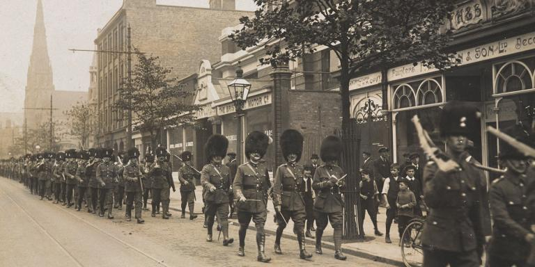 2nd Battalion The Royal Munster Fusiliers on strike duty in Birmingham, 1911