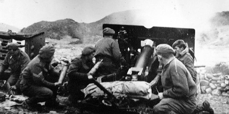 A Royal Artillery 25-pounder field gun in action in Korea, 1951