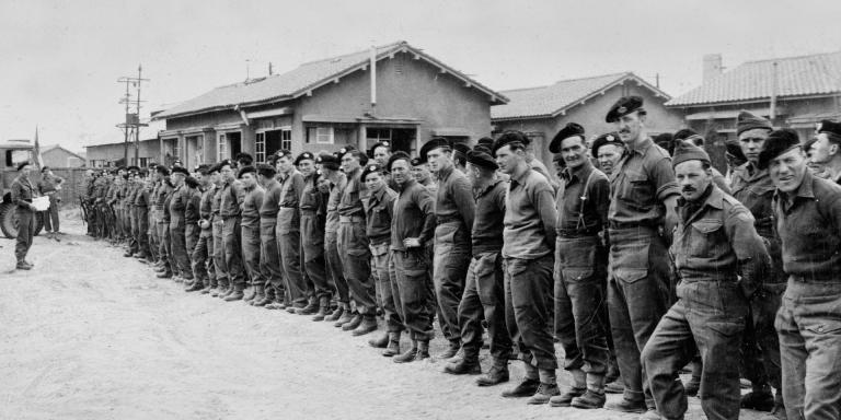 Roll call for Gloucester survivors after the Battle of the Imjin River