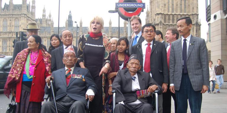 Joanna Lumley campaigning for Gurkha rights in 2008, via Liberal Democrats on Flickr