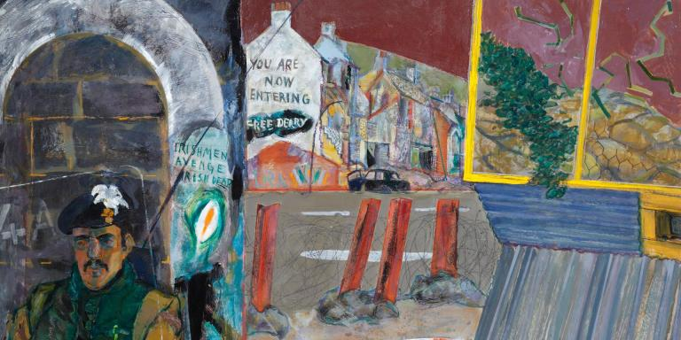Oil painting by Ralph Lillford, 'Irishmen Avenge Irish Dead', Londonderry, 1975
