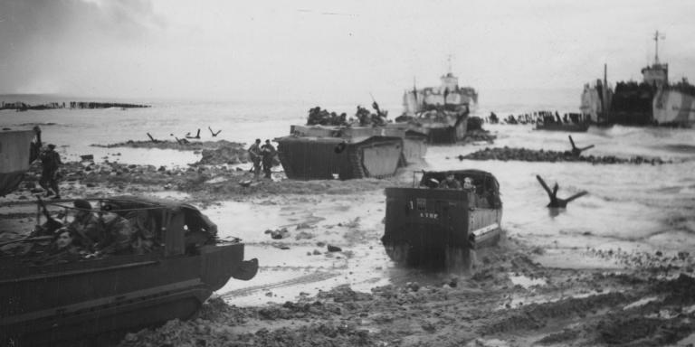 Allied vehicles land on Walcheren at the mouth of the West Scheldt, 2 November 1944