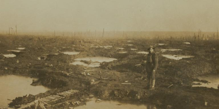 A typical part of the Passchendaele battlefield in 1917