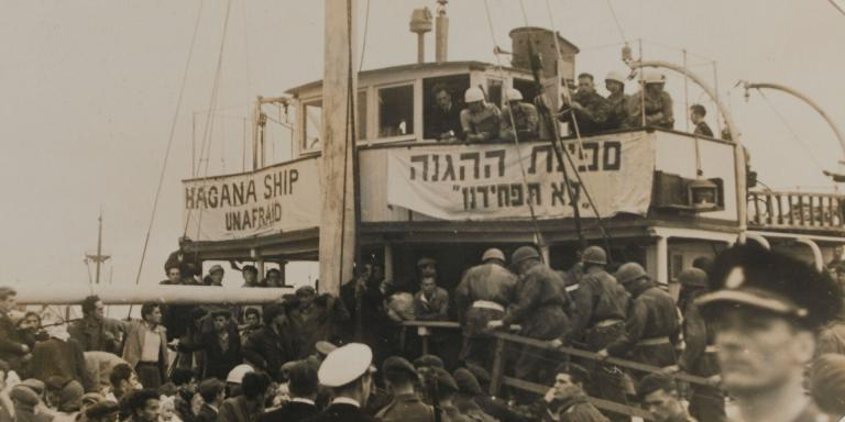 Troops of 6th Airborne Division searching a Jewish immigrant ship, Haifa, 1948