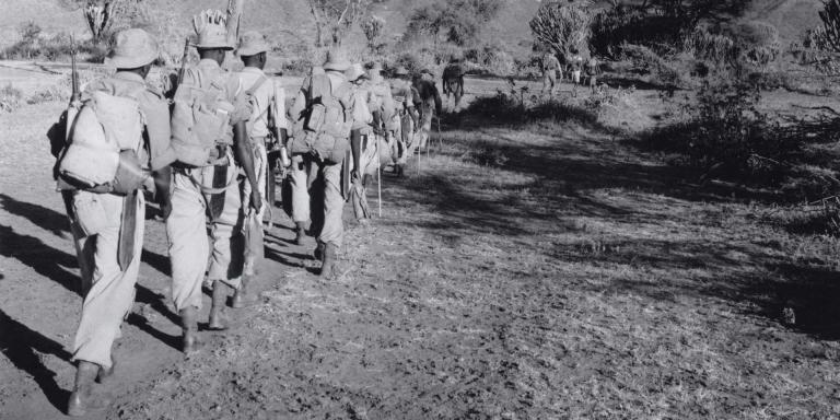 Members of The King's African Rifles on patrol, 1956