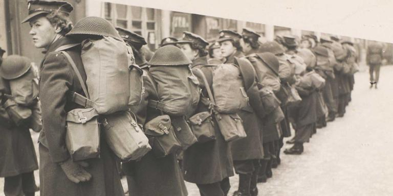ATS recruits parading with full kit, c1943